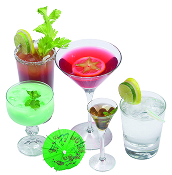A variety of mixed drinks